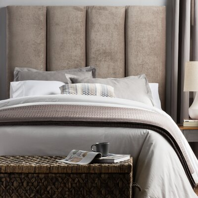 Franklin Square Valinda Upholstered Panel Headboard Size: Full, Upholstery: Light Gray