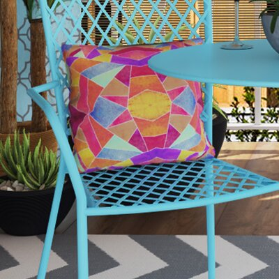 Gerlach Colorful Mosaic Sun Indoor/outdoor Throw Pillow Size: 26 H x 26 W x 7 D