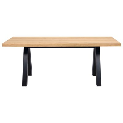 Opperman Dining Table Base Finish: Black, Top Finish: Wild Oak