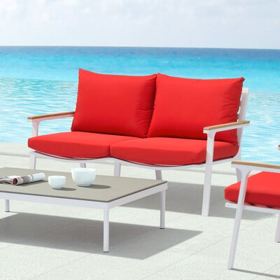 Gess Beach Loveseat Upholstery: Red