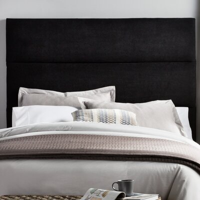 Franklin Square Upholstered Panel Headboard Size: King, Upholstery: Black