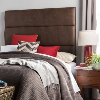Aoki Upholstered Panel Headboard Size: Full, Upholstery: Brown