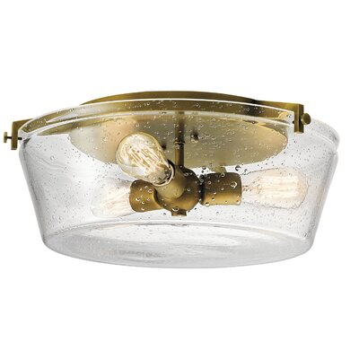 Byrd 3-Light Flush Mount Finish: Natural Brass