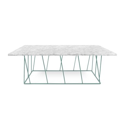 Grimes Coffee Table with Magazine Rack Top Finish: White Marble, Base Finish: Sea Green Lacquered Steel