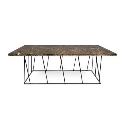 Grimes Coffee Table with Magazine Rack Top Finish: Brown Marble, Base Finish: Black Lacquered Steel