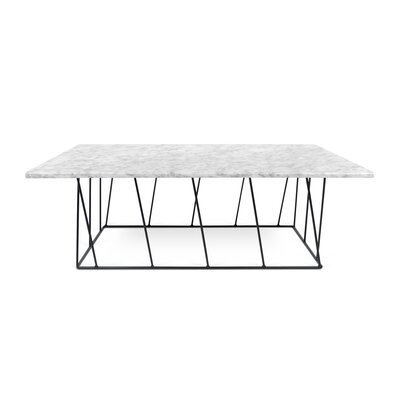 Grimes Coffee Table with Magazine Rack Top Finish: White Marble, Base Finish: Black Lacquered Steel