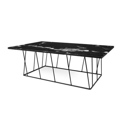 Sligh Coffee Table with Magazine Rack Base Color: Black Lacquered Steel, Top Color: Brown Marble