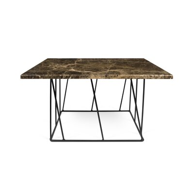 Sligh Coffee Table Base Color: Black Lacquered Steel, Top Color: Brown Marble