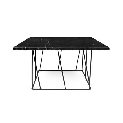 Grimes Coffee Table Top Finish: Black Marble, Base Finish: Black Lacquered Steel