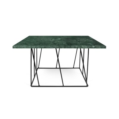 Sligh Coffee Table Base Color: Black Lacquered Steel, Top Color: Green Marble