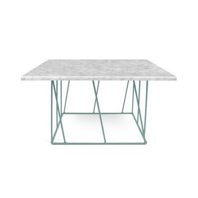 Sligh Coffee Table Base Color: Sea Green Lacquered Steel, Top Color: White Marble