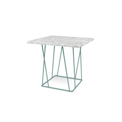 Grimes Coffee Table Top Finish: White Marble, Base Finish: Sea Green Lacquered Steel