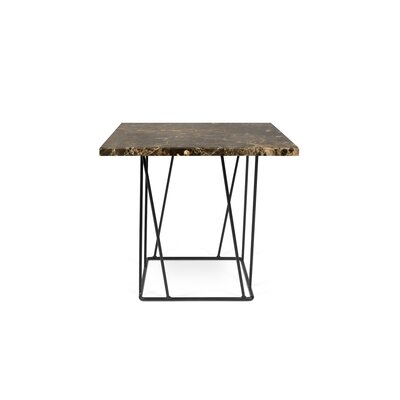 Grimes Coffee Table Top Finish: Brown Marble, Base Finish: Black Lacquered Steel