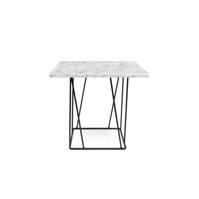Grimes Coffee Table Top Finish: White Marble, Base Finish: Black Lacquered Steel