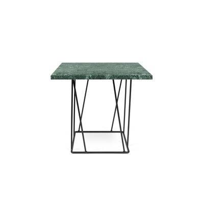 Grimes Coffee Table Base Color: Black Lacquered Steel, Top Color: Green Marble