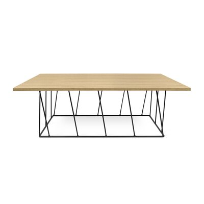 Grimes Coffee Table Base Finish: Black Lacquered Steel, Top Finish: Wild Oak