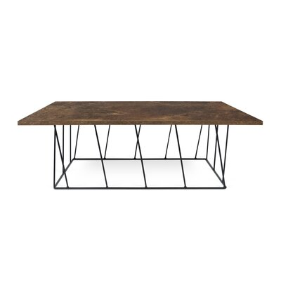 Grimes Coffee Table Top Finish: Rusty Look, Base Finish: Black Lacquered Steel