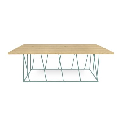 Grimes Coffee Table Base Finish: Sea Green Lacquered Steel, Top Finish: Wild Oak