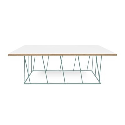 Grimes Coffee Table Top Finish: Pure White, Base Finish: Sea Green Lacquered Steel