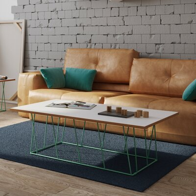Sligh Coffee Table Base Color: Sea Green Lacquered Steel, Top Color: Pure White