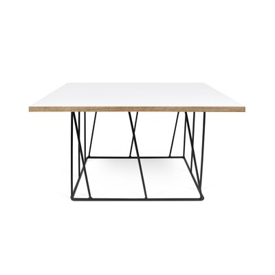 Grimes Coffee Table Base Finish: Black Lacquered Steel, Top Finish: Pure White