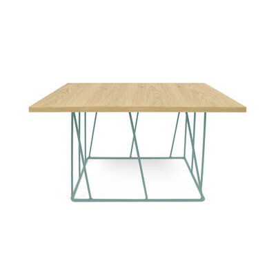 Sligh Coffee Table Base Color: Sea Green Lacquered Steel, Top Color: Wild Oak