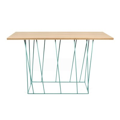 Grimes Console Table Top Finish: Wild Oak, Base Finish: Sea Green Lacquered Steel