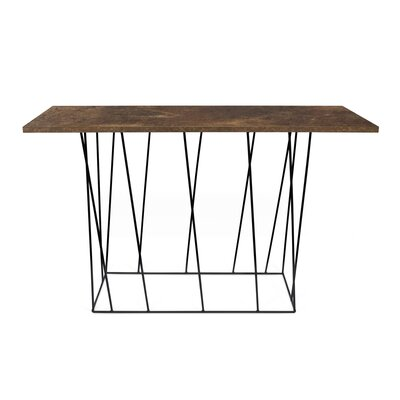 Grimes Console Table Top Finish: Rusty Look, Base Finish: Black Lacquered Steel