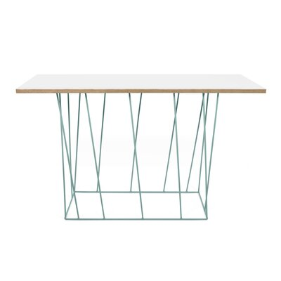 Grimes Console Table Top Finish: Pure White, Base Finish: Sea Green Lacquered Steel