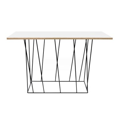 Grimes Console Table Top Finish: Pure White, Base Finish: Black Lacquered Steel