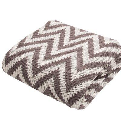 Brazier Handloom Chevron Cotton Throw Blanket Color: Ivory / Brown