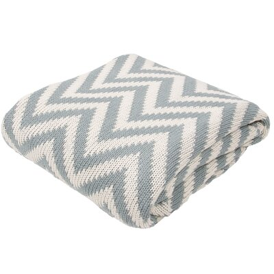 Brazier Handloom Chevron Cotton Throw Blanket Color: Ivory / Blue