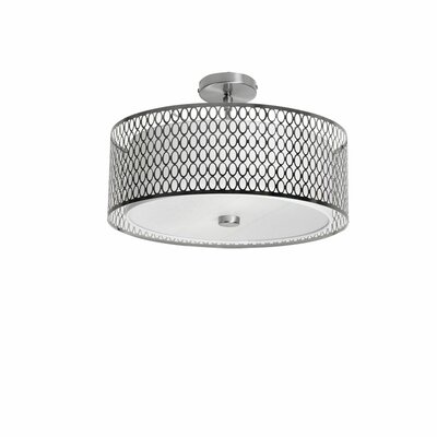 Kirkbride 3-Light Drum Pendant Finish: Satin Chrome, Size: 8.5 H x 17 W