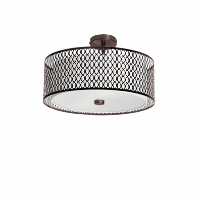 Kirkbride 3-Light Drum Pendant Size: 8.5 H x 17 W, Finish: Vintage Oiled Brushed Bronze
