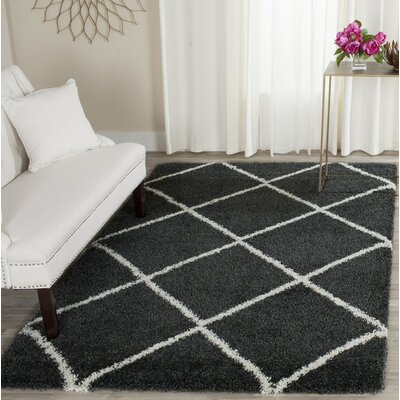 Humberto Shag Dark Grey/Ivory Area Rug Rug Size: Rectangle 6 x 9