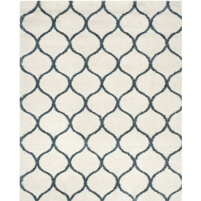 Hampstead Ivory/ Slate Blue Area Rug Rug Size: Rectangle 6 x 9