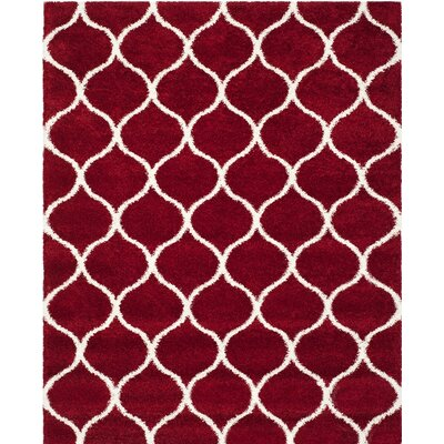 Humberto Shag Red/White Area Rug Rug Size: 8 x 10