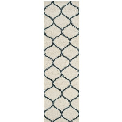Hampstead Ivory/ Slate Blue Area Rug Rug Size: Runner 23 x 8