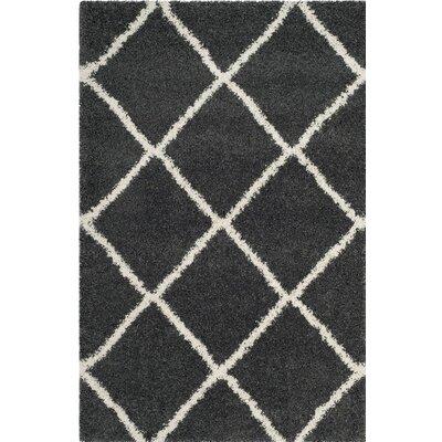 Humberto Shag Dark Grey/Ivory Area Rug Rug Size: 4 x 6