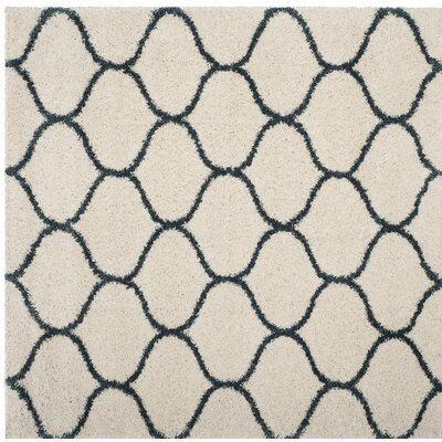 Hampstead Ivory/ Slate Blue Area Rug Rug Size: Square 7