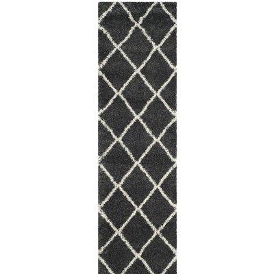 Humberto Shag Dark Grey/Ivory Area Rug Rug Size: Runner 23 x 8