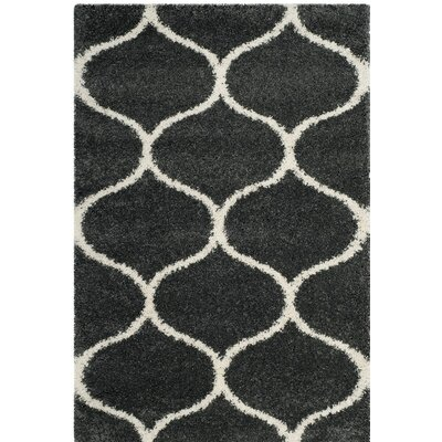 Hampstead Shag Beige/Black Area Rug Rug Size: 4 x 6