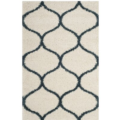 Hampstead Ivory/ Slate Blue Area Rug Rug Size: Rectangle 9 x 12