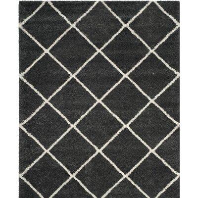 Humberto Shag Dark Grey/Ivory Area Rug Rug Size: 8 x 10