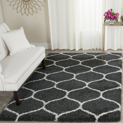 Hampstead Shag Dark Gray/Ivory Area Rug Rug Size: Runner 23 x 12
