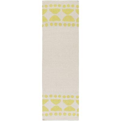 Gerner Hand-Woven Lime/Ivory Area Rug Rug size: Runner 26 x 8