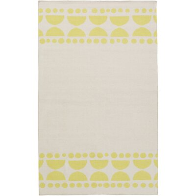 Gerner Hand-Woven Lime/Ivory Area Rug Rug size: Rectangle 5 x 8