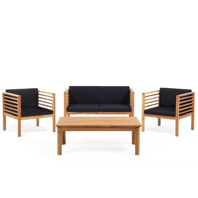 Copper 4 Piece Bench Seating Group with Cushions