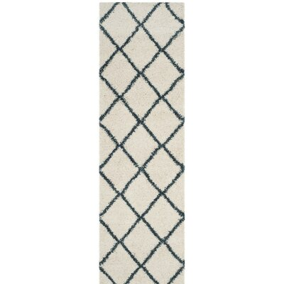 Hampstead Beige/Blue Area Rug Rug Size: Runner 23 x 8