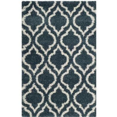 Hampstead Shag Blue/Beige Area Rug Rug Size: 51 x 76